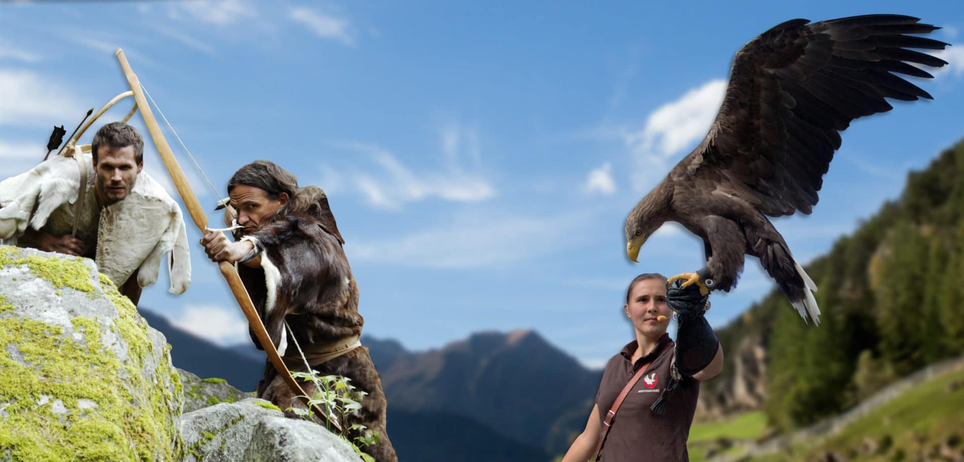 Mann beim Bogenschießen und Falknerin mit Adler